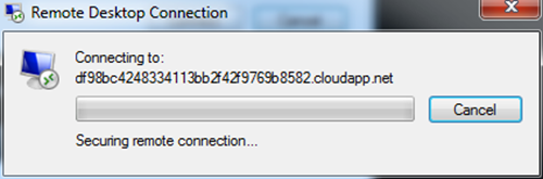 Initializing Connection to Windows Azure